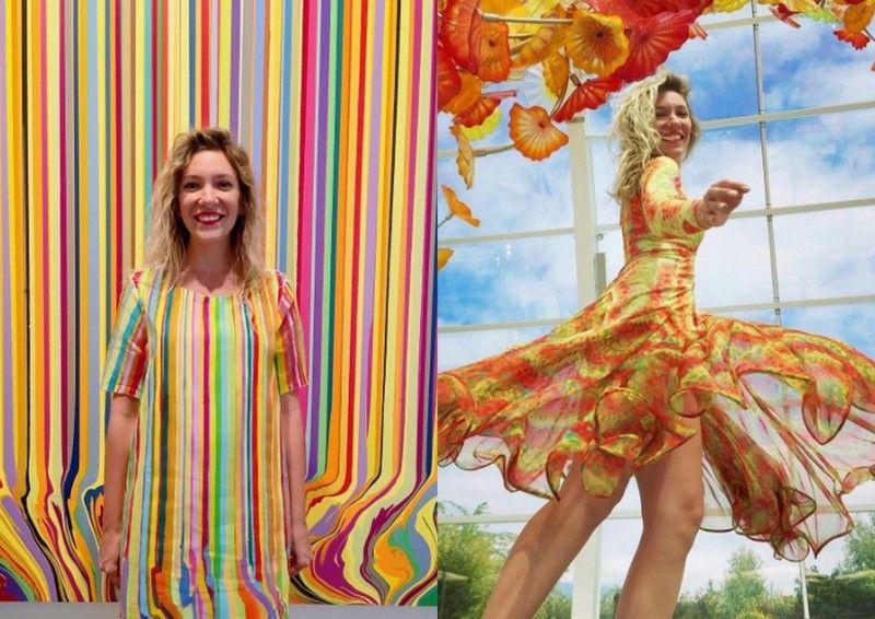Dwa zdjęcia przedstawiające dziewczyne ubraną w sukienki przypominające obrazy