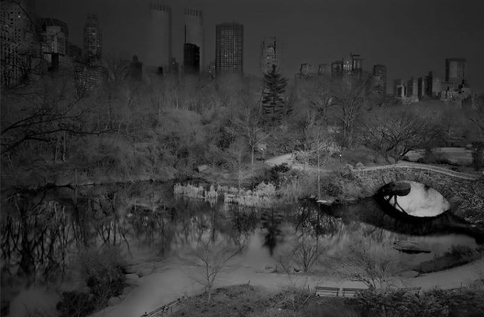 Zdjęcie przedstawia drogę znajdującą się nad oczkiem wodnym. W tle widać budynki wieżowców