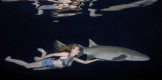 Dziewczyna w szortach i biustonoszu pływa obok rekina