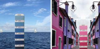 kolory pantone na tle morza i kolorowych budynków