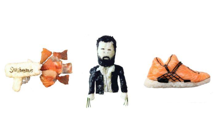 sushi w postaci obuwia i gwiazd