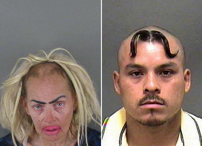 zdjęcie przedstawia dwa zdjęcia z kartoteki policyjnej, gdzie kobieta ma wygolone pół czoła, a mężczyzna ma wąsy na czole