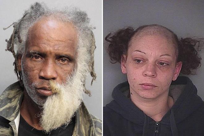 zdjęcie mugshot - jedna osoba ma poł brody wygolone, druga ma czoło całe wygolone