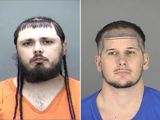 zdjęcie mugshot - jedna osoba ma króciutką grzywkę i parę prostych włosów, druga ma dziwny wzorek z włosów na czole