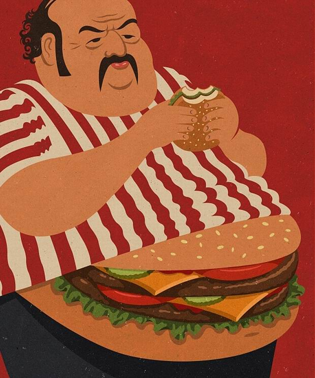 otyly mezczyzna z czarnym wasem trzymajacy w dloniach hamburgera, ubrany w koszulke w biao-czerwone paski zamiast brzucha pod koszulka wystaje mu hamburger