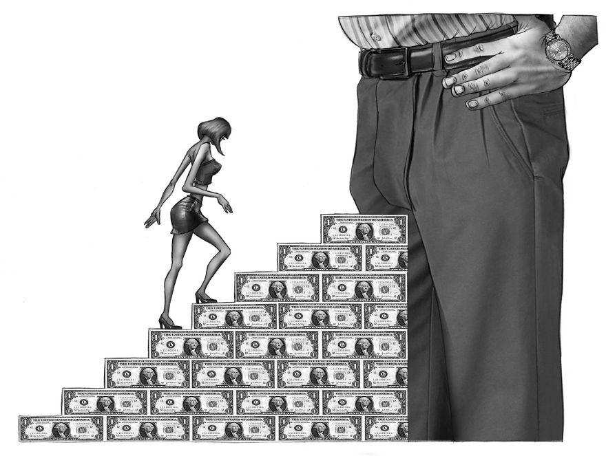 Kobieta wspinająca się po banknotach do męskiego krocza