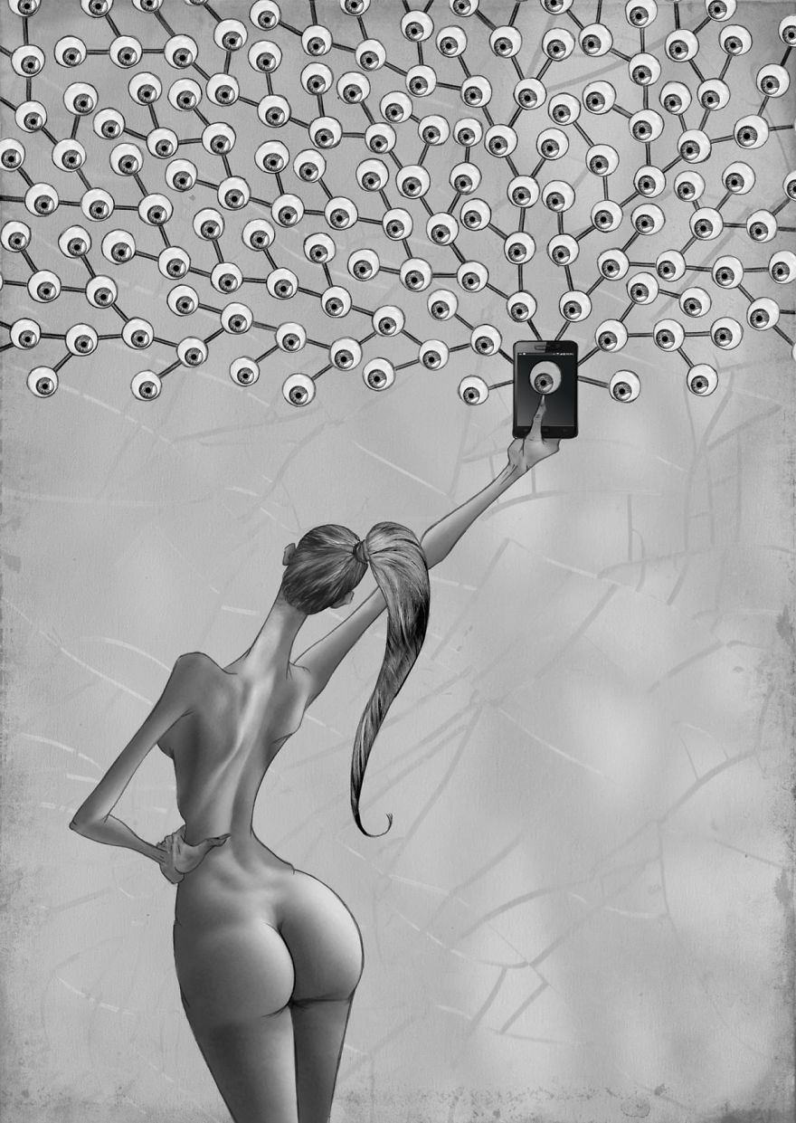 Rynek przedstawiający nagą kobietę odwróconą tyłem z wyciągniętą ręką ze smartfonem, nad smartfonem mnóstwo obserwujących gałek ocznych