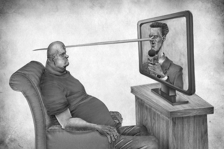 Rysnek przedstawiający otyłego mężczyzne siedzącego na fotelu, przed nim telewizor z prowadzącym, którego nos przebija głowę oglądającego telewizję mężczyzny