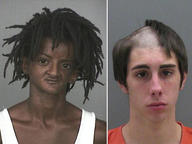 zdjęcie mugshot - jedna osoba ma dziwne dredy, druga ma wygolona pół głowy