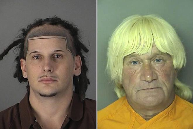 zdjęcie mugshot - jedna osoba ma dziwny wzorek na czole z włosów, druga ma platynowe włosy (starszy facet)