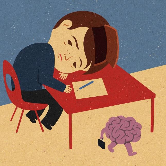 chlopiec siedzacy na czerwonym krzesle z glowa na czerwonym stoliku, pod stolikiem fioletowy mozg z nogami