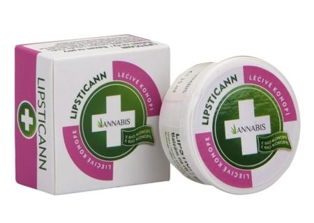 Biało-różowo-zielone opakowanie balsamu do ust z dodatkiem konopi