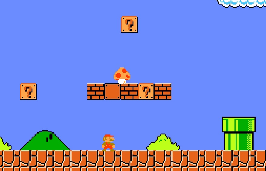 Kadr z pikselowej gry komputerowej Mario