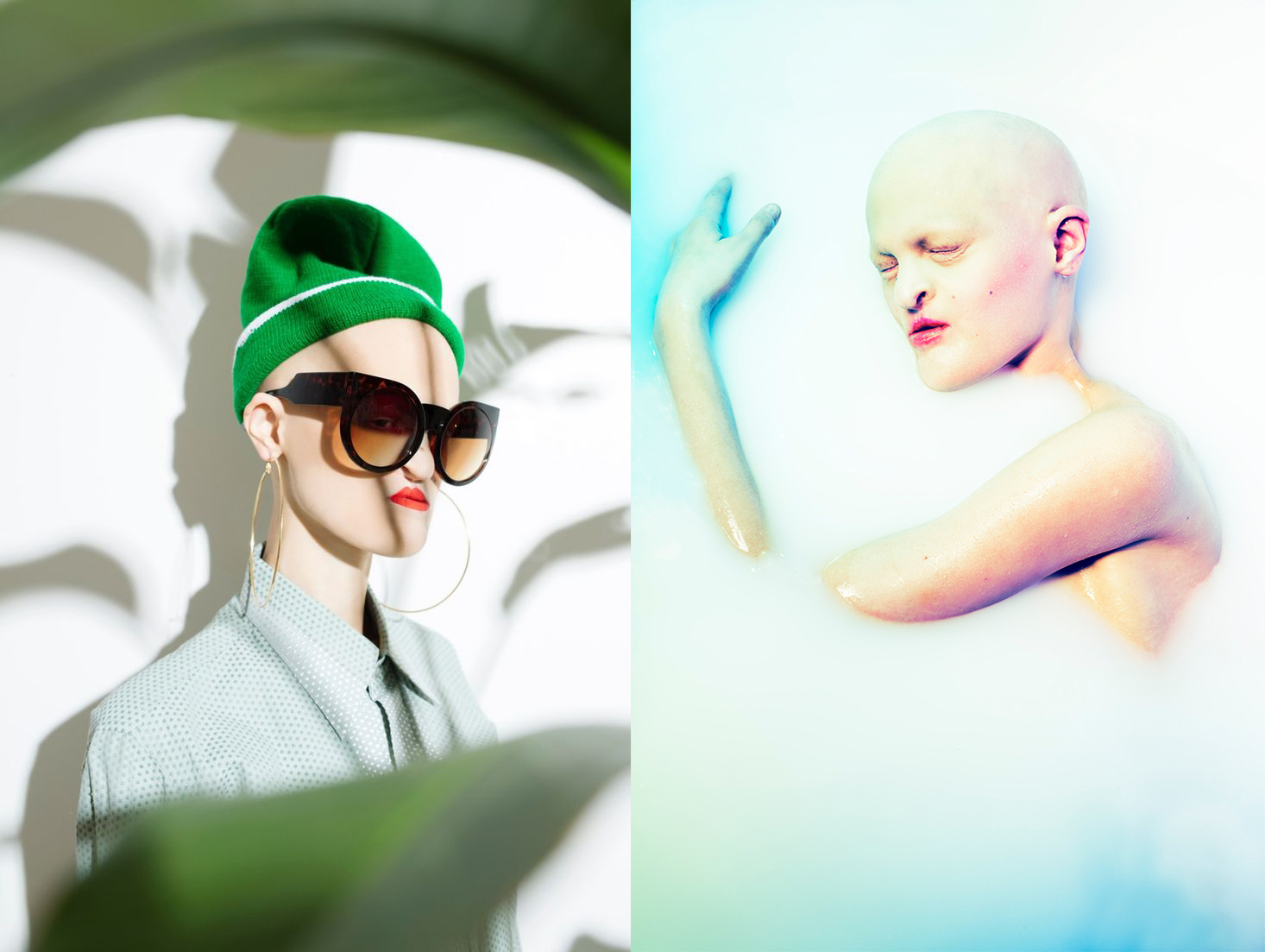 Dwie fotografie kolorowe. Po lewej stronie portret łysej modelki, w zielonej czapce zimowej, z dużymi czarnymi okularami przeciwsłonecznymi. Modelka ubrana jest w koszulę, a na pierwszym planie widać rozmazane zielone liście. Po prawej stronie ta sama modelka, ze zdeformowaną twarzą, nago leży w mleku. Z płynu wystaje tylko twarz oraz lewa ręka. Modelka leży bokiem.