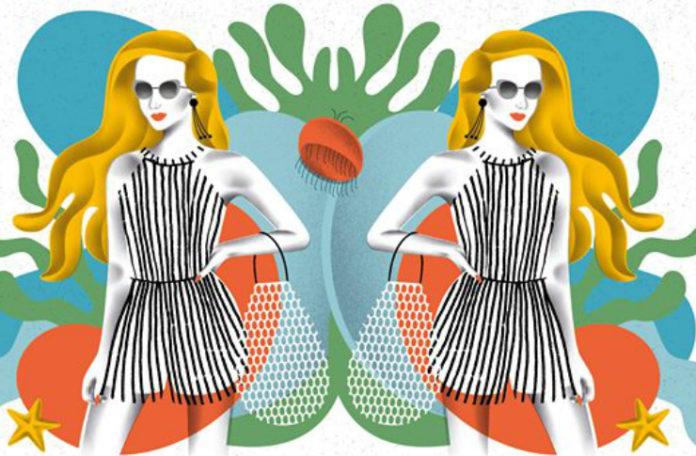 Grafika przedstawiająca tę samą kobiecą postać w szarej sukience w lustrzanym odbiciu