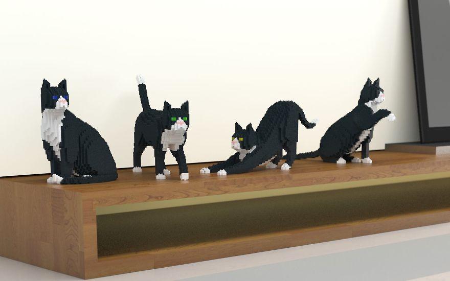 koty zbudowane z klockow lego