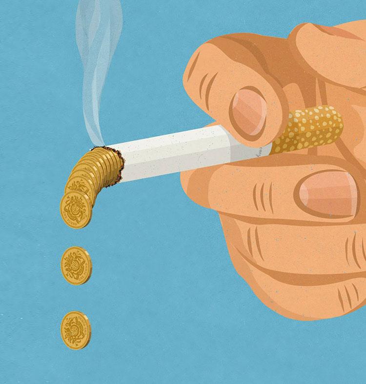 dlon trzymajaca papierosa, z ktorego wypadaja monety