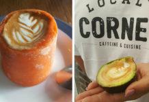 na zdjęciu jest kawa podana w wydrążonej marchewce, oraz kawa w wydrążonym awokado