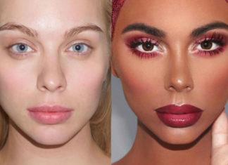 biala kobieta bez makijazu obok czarnoskorej kobiety z pelnym makijazem