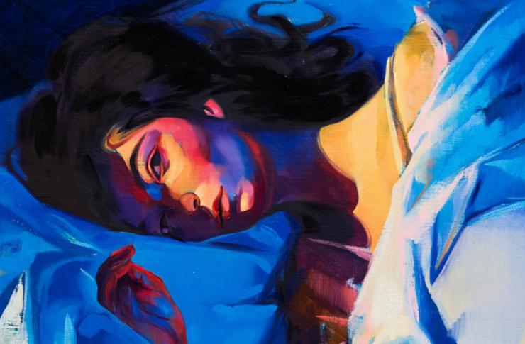 Grafika przedstawiająca leżącą na łóżku kobietę