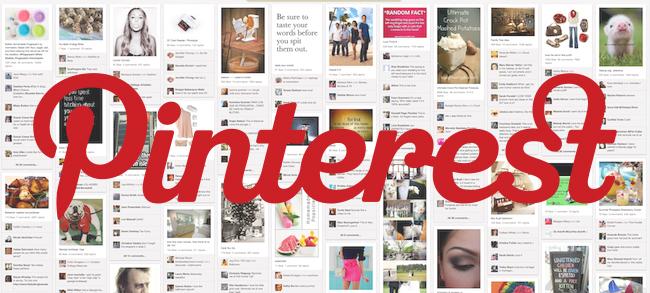na zdjęciu jest logo aplikacji pinterest, a w tle mnóstwo zdjęć, które można znaleźć w tej aplikacji