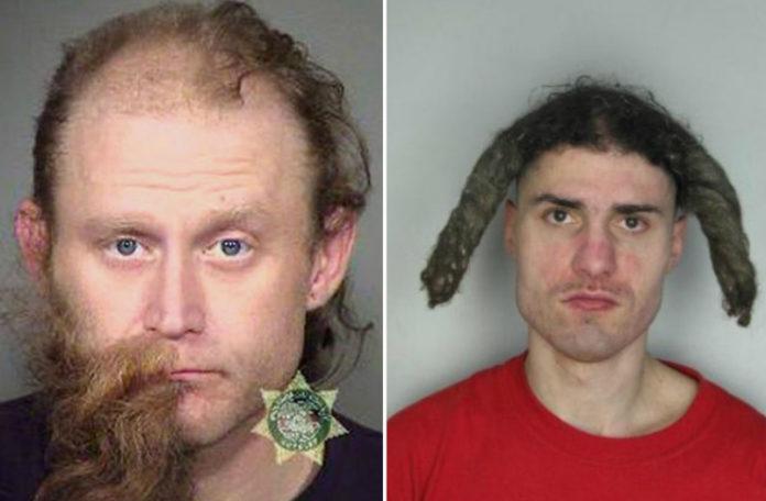zdjęcie mugshot - jedna osoba ma wygoloną pół brody, a druga ma dwa dredy stojące z boku głowy