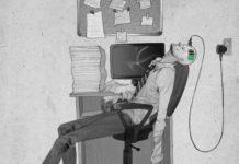 Mężczyzna leżący na krześle w ładowarką wbitą w czoło