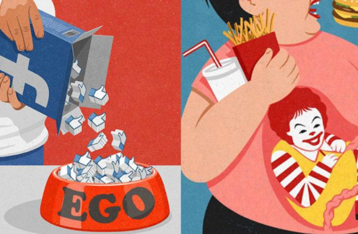 czlowiek wsypujacy lajki do miski z napisem ego i otyla kobieta jedzaca hamburgera