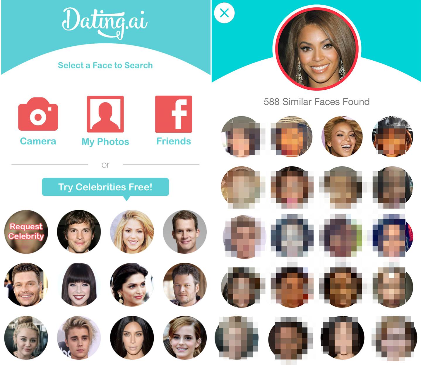 Dwa screeny z randkowej aplikacji, po lewej stronie do wybory wiele twarzy celebrytów. Twarze umieszczone są w małych okręgach, w rzędach. Po prawej srnie wybrana twarz czarnoskórej lebrytki, pod spodem dopasowane twarze ludzi, wypikselowane.