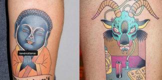 Dwa tatuaże obok siebie, jeden to Niebieski kozioł i Bart Simpson, a drugi wizerunek buddy podpisanej jako Kendrick Lamar