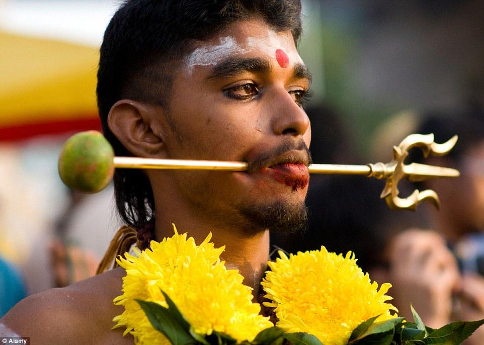 Zdjęcie przedstawia uczestnika świeta Thaipusam, który w ofierze przebił sobie policzki i język symbolem Lorda Muragan- trójząvem. Na czole ma namalowany symbol bindi.