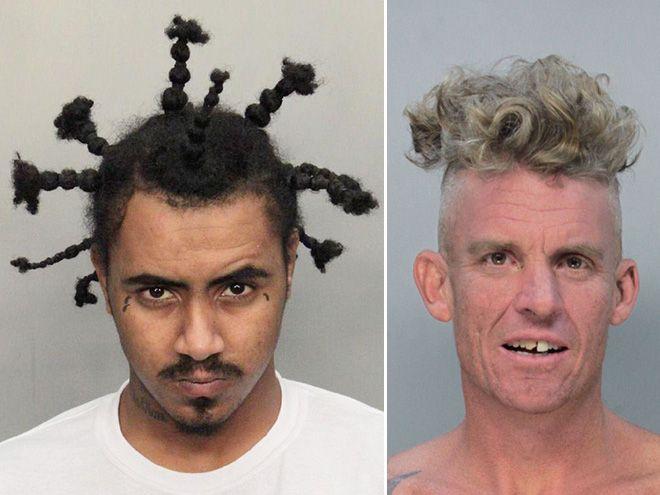 zdjęcie mugshot - jedna osoba ma warkoczyki sterczące z głowy, druga krótkie włosy