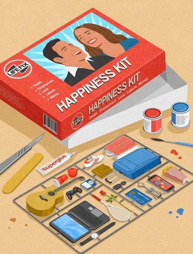 """czerwone pudelko z bialym napisem """"happiness kit"""" obok lezace przedmioty takie jak telefon, gitara, paletka do tenisa, pad, kart kredytowa"""