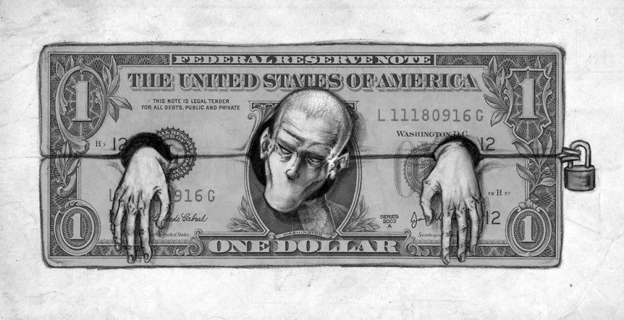 banknot z ktorego wystaje glowa i dlonie mezczyzny