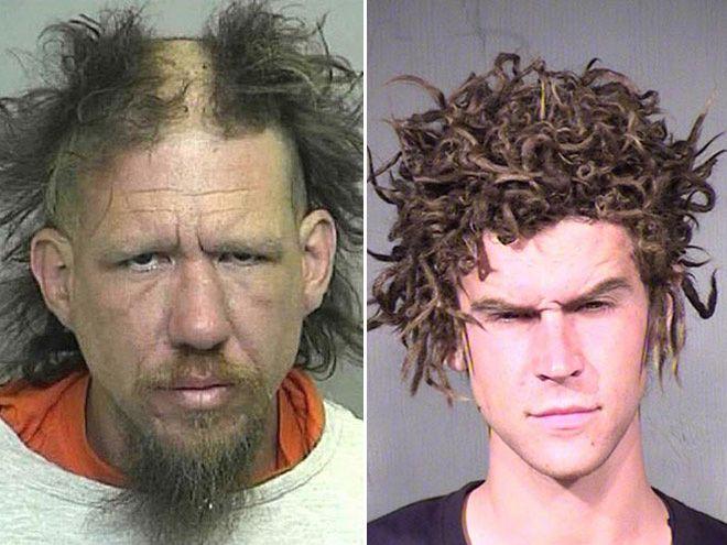 zdjęcie mugshot - jedna osoba ma wygolony środek głowy, druga ma dziwne kręcone włosy