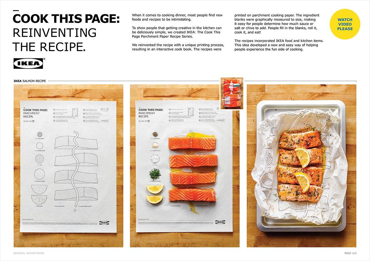 Zdjęcie reklamowe ukazujące trzy zdjęcia pokazujące kolejne etapy przygotowania kawałków ryby. Na pierwszym widać kartkę papieru, na której narysowane są potzrebne składniki, które można na niej ułożyć. Na drugim zdjęciu widać ułożone składniki, cztery plastry czerwonego mięsa ryby, dwie ćwiartki cytryny i przyprawy. Na ostatnim pokazano upieczone danie.