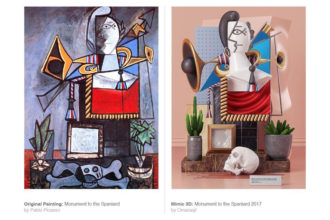 Zlepek dwóch obrazów, po lewej surrealistyczne dzieło Pablo Picasso,a po prawej instalacja 3D inspirowana tym dziełem