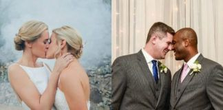 Dwie całujące się kobiety ubrane w suknie ślubne i dwóch mężczyzn ubranych w garnitury