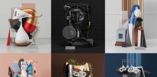 Zlepek sześciu kolorowych zdjęć. Na zdjęciach widać różne surrealistyczne instalacje, inspirowane obrazami Pablo Picasso.