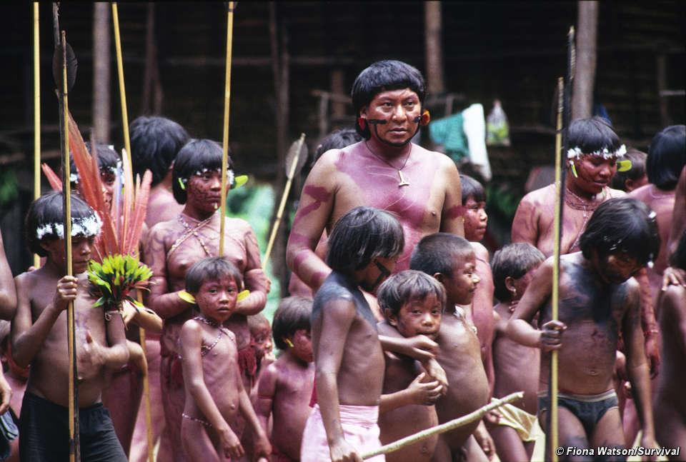 Fotografia plemienia Yanomami, które zamieszkuje Brazylie i Wenezuelę. Na zdjęciu widać grupkę kilkumastu chłopców i jednego dorosłego. Widoczne są umalowania na skórze oraz liczny piercing. Wszyscy trzymają bambusowe kijki.