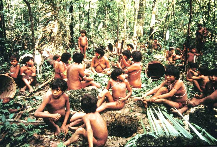 Grupa młodych chłopców z plemienia Yanomami, które jest w środku dżungli i aktualnie przygotowują sobie pokarm. Wszyscy są nadzy i mają pomalowane ciała.