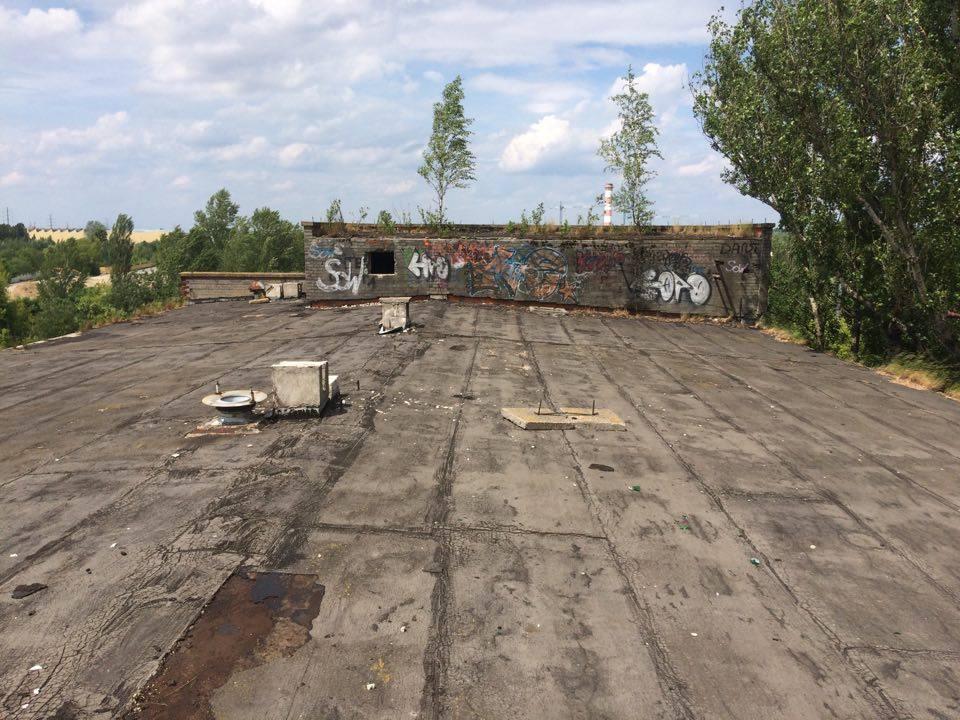Zdjecie dachu budynku Zakładów Ursus.