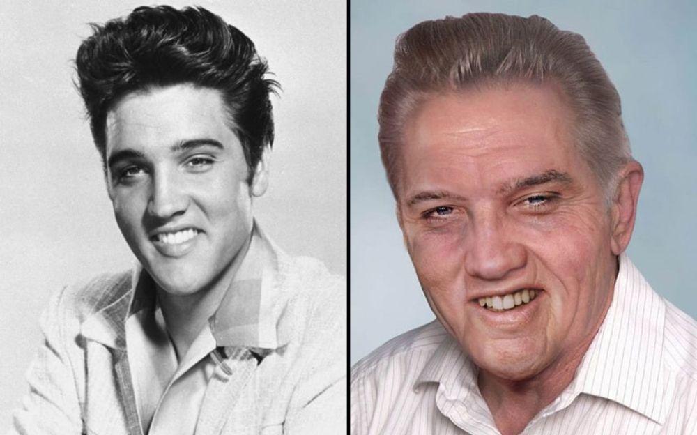 Po lewej stronie czarno-białe zdjęcie uśmiechniętego mężczyzny, po prawej, wizualizacja jak wyglądałby jako staruszek
