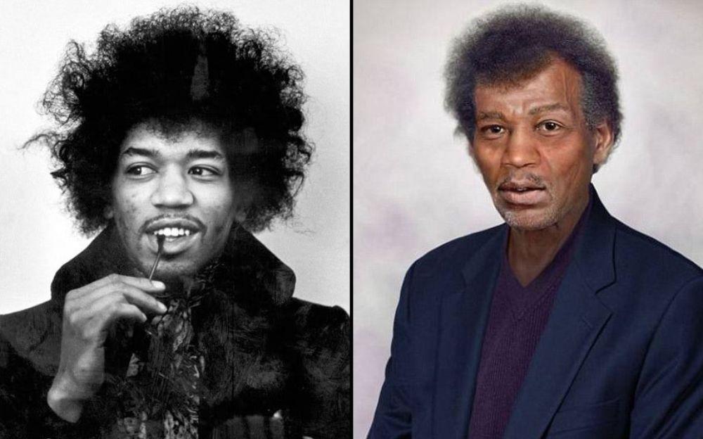 Po lewej stronie czarno-białe zdjęcie mężczyzny z afro, po lewej kolorowe zdjęcie tego samego mężczyzny w starszym wieku