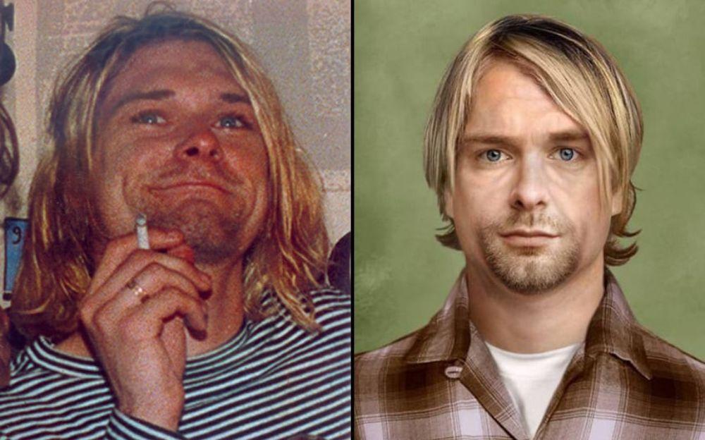 Po lewej młody mężczyzna z blond włosami, trzymający w dłoni papierosa, po lewej ten sam mężczyzna, tylko starszy