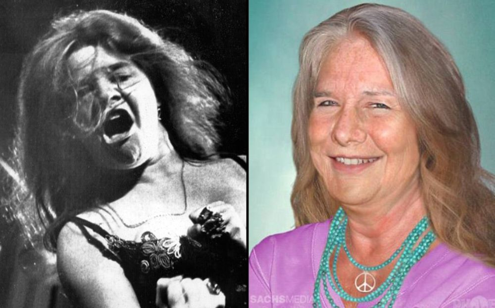 Po lewej czarno-białe zdjęcie kobiety z otwartymi ustami, po prawej ta sama kobieta, już z siwymi włosami ubrana w żakiet