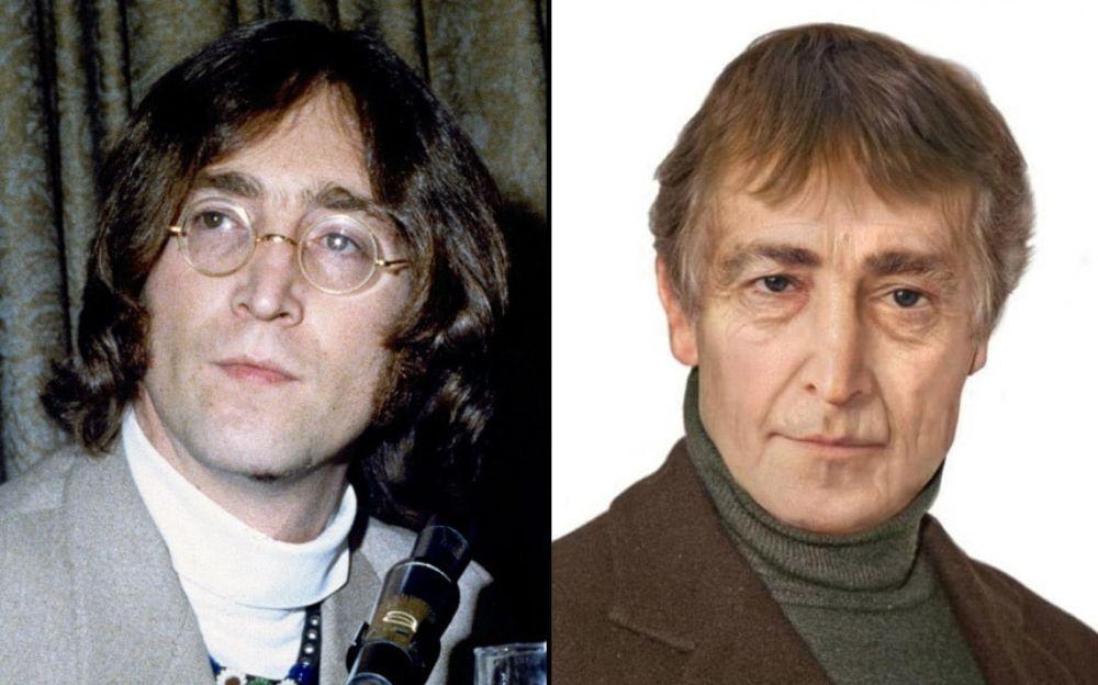 Po lewej stronie mężczyzna z dłuższymi włosami w okrągłych okularach, po prawej ten sam mężczyzna w zielonym golfie i marynarce