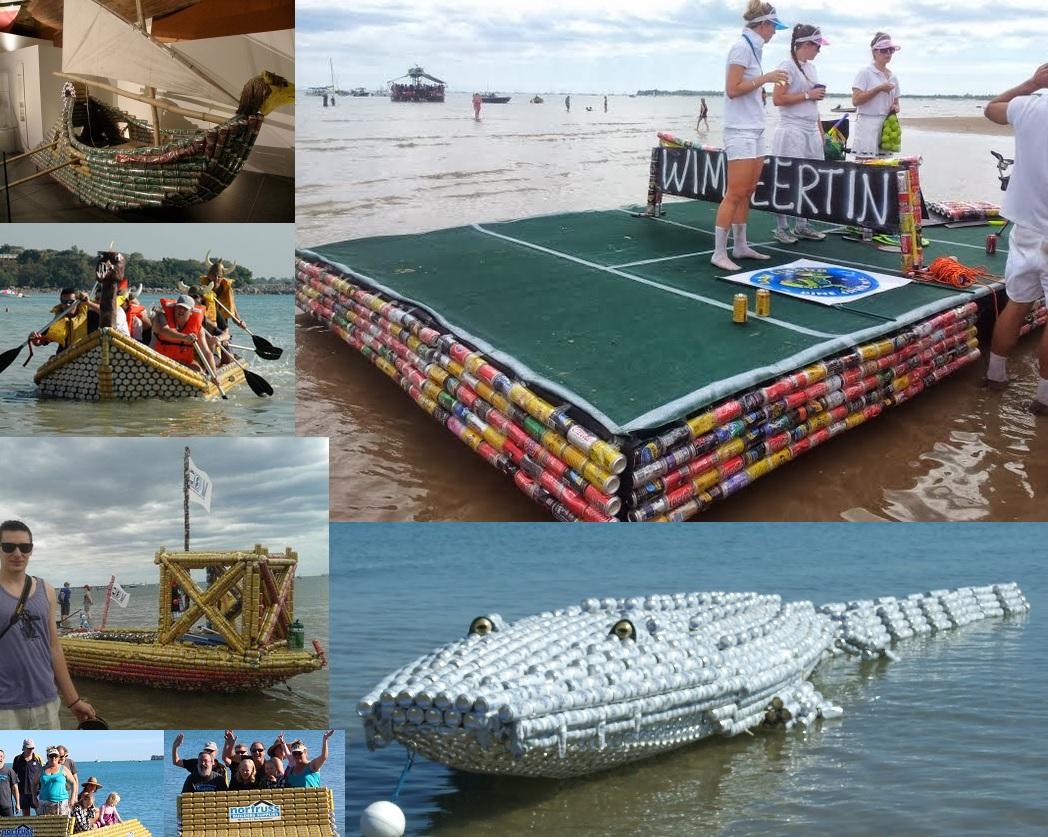 Kolaż ze zdjęć przedstawiających łódki z puszek po piwie