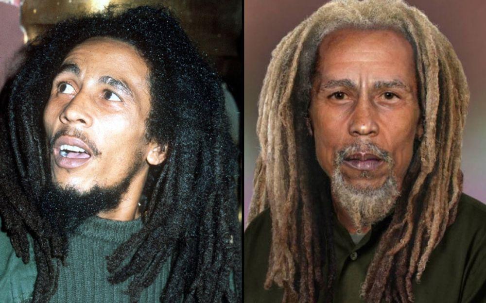 Po lewej stronie mężczyzna w czarnych dredach, po prawej ten sam mężczyzna z siwymi dredami
