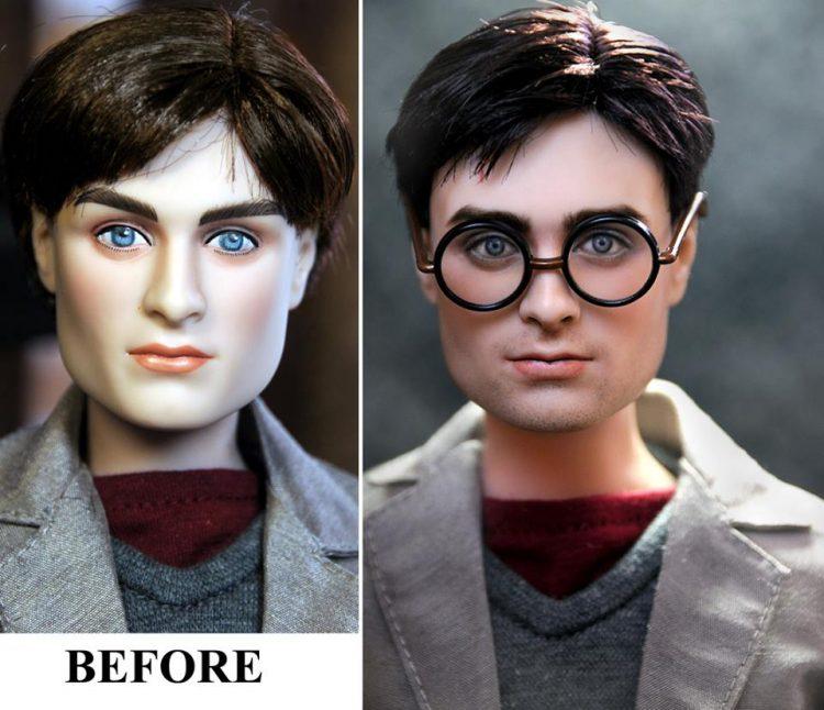 Lalka Harrego Pottera mężczyzna w okularach i szarej kurtce